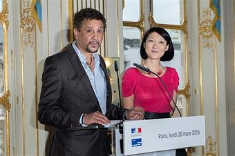 Abel Jafri et la ministre de la culture Fleur Pellerin au Ministère