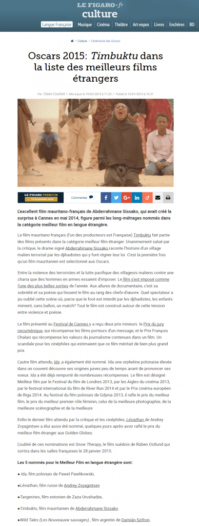Le Figaro : Oscars 2015: Timbuktu dans la liste des meilleurs films étrangers